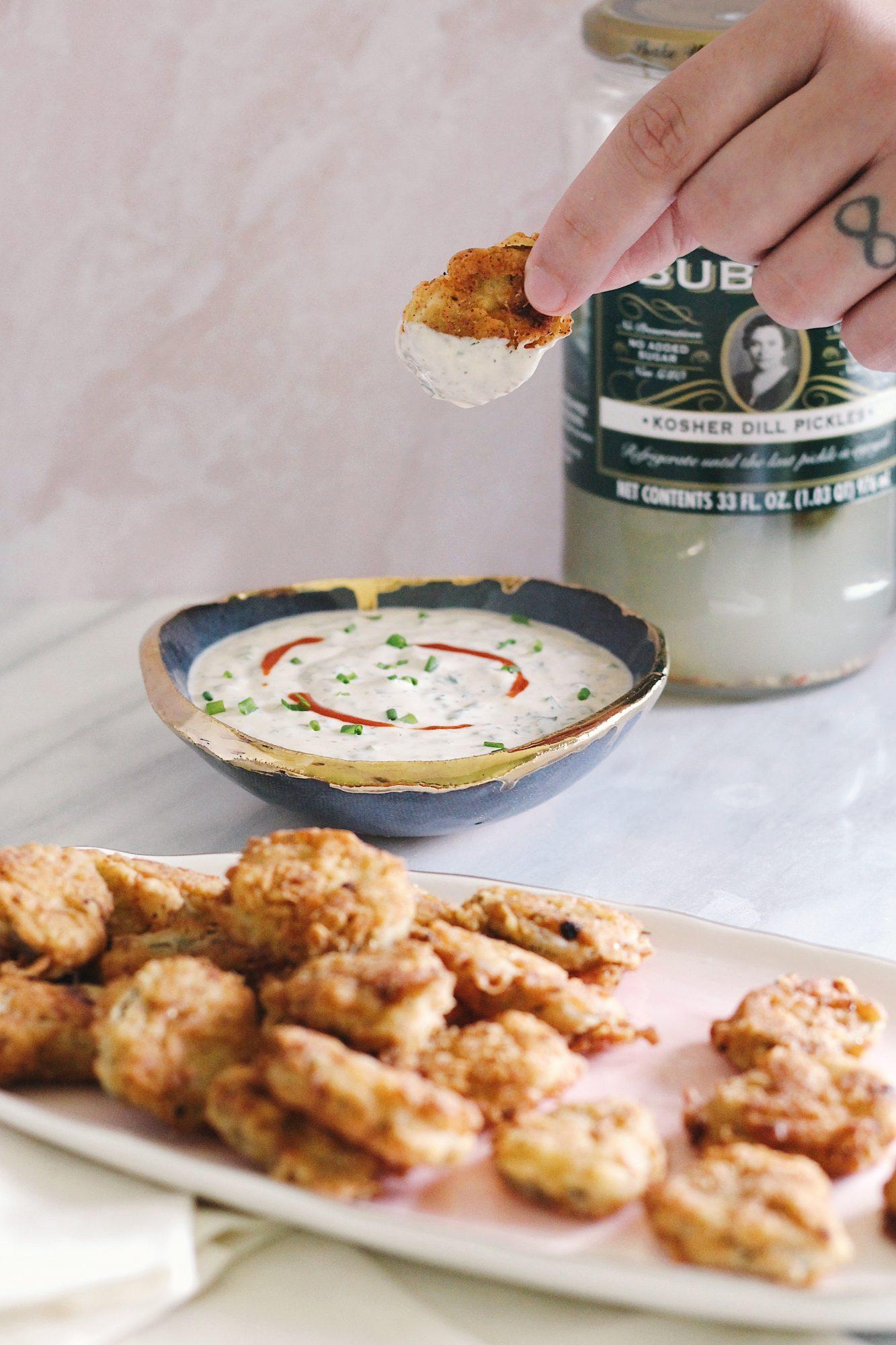 delicious crispy pickles with a creamy ranch dip