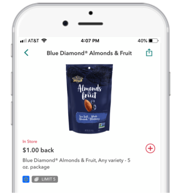 $1 back deal for Blue Diamonds Almonds & Fruit on Ibotta