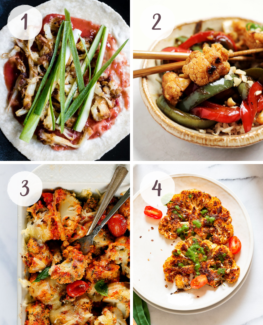 A round up of healthy and delicious cauliflower recipes
