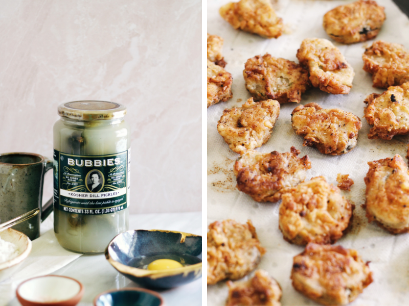 crispy fried dill pickles paired with a spicy ranch dip
