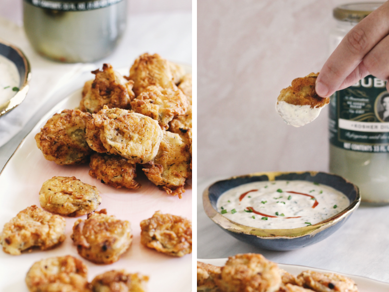 Sriracha ranch dip is delicious with fried pickles