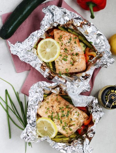 Honey Mustard Grilled Salmon in foil packets are savory, sweet, and delicious. Plus: easy clean-up!