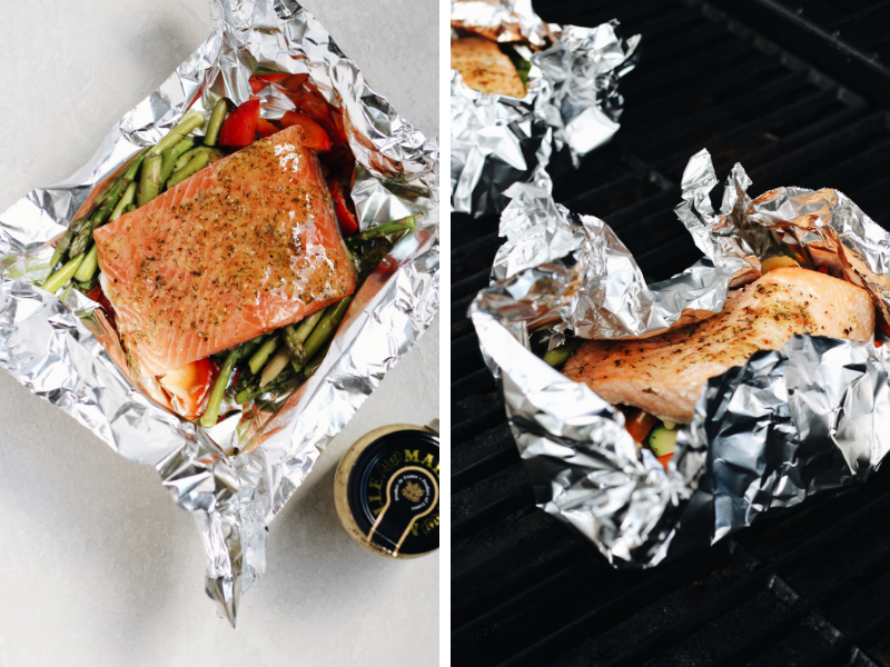 Fire up the grill for these tasty salmon foil packets