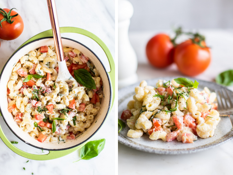 Delicious Caprese Macaroni and Cheese using fresh ripe tomatoes and basil