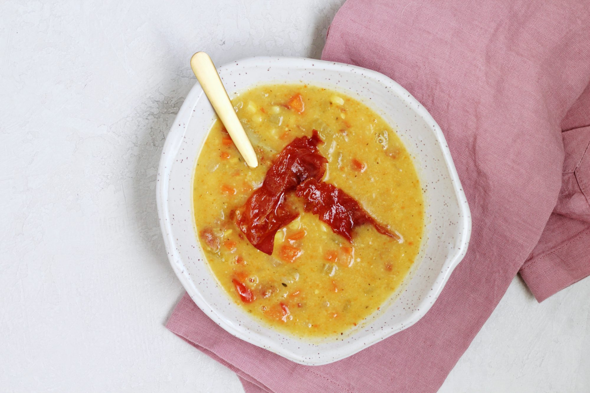 Gluten-free and dairy-free corn chowder made with creamy coconut milk