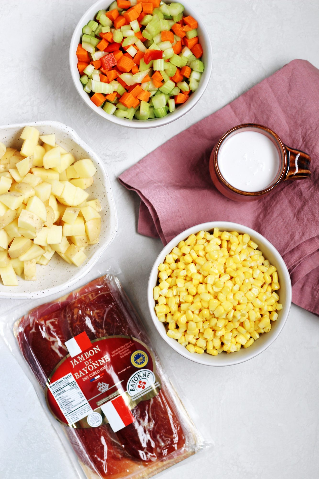 Potato Corn Chowder with Crispy Ham is dairy-free and gluten-free