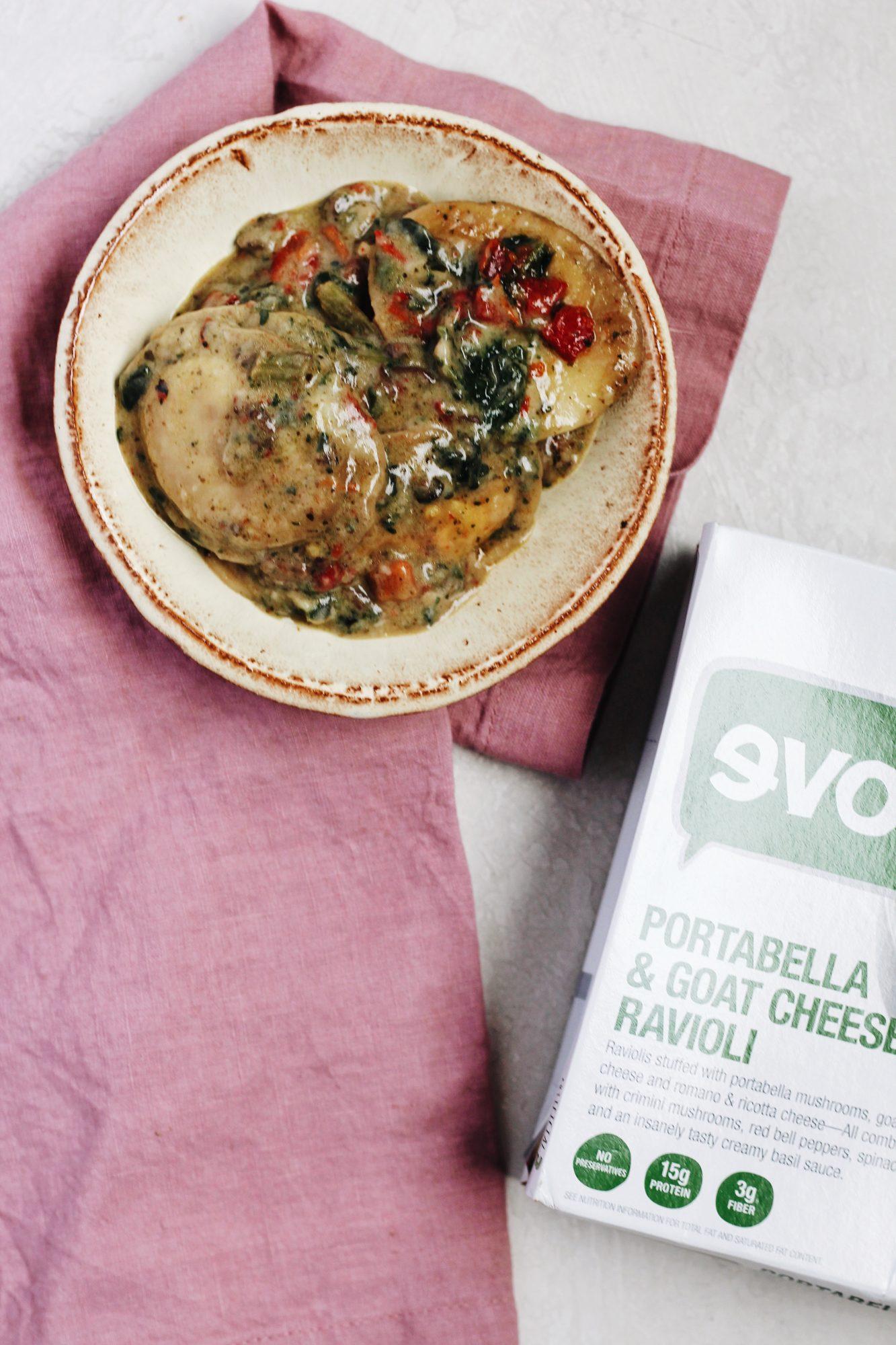 Evol Portabella & Goat Cheese Ravioli is a delicious frozen meal