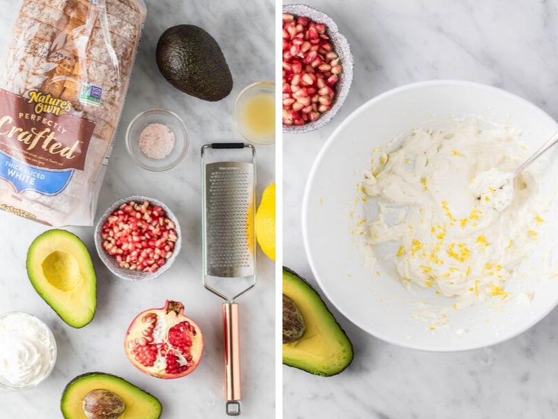 lemon cream cheese and pomegranate avocado toast