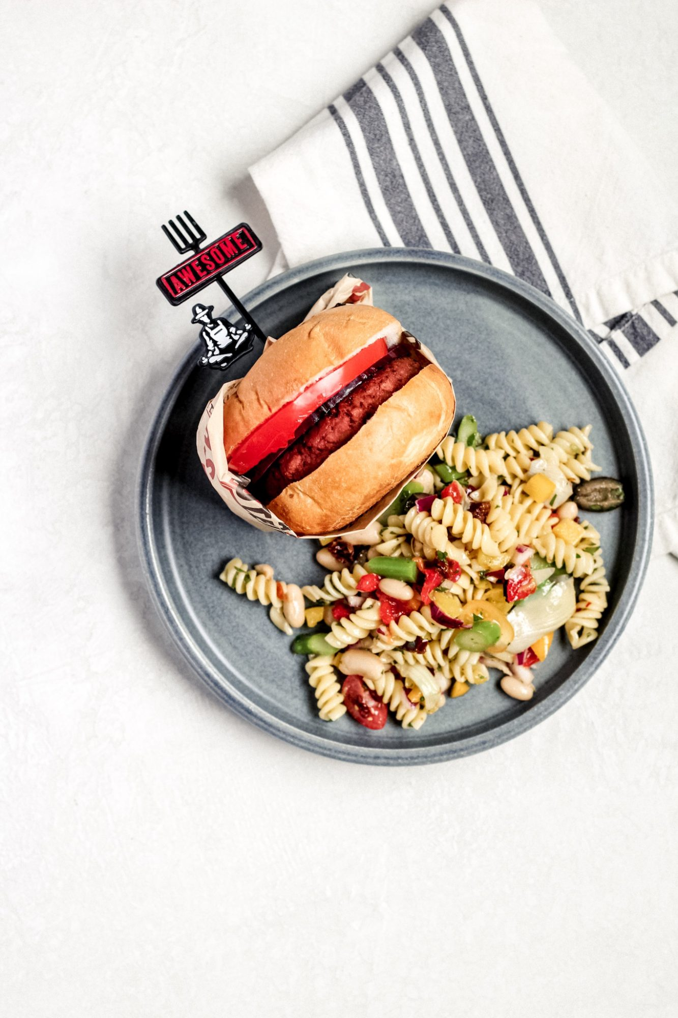 plant-based burgers with vegan pasta salad