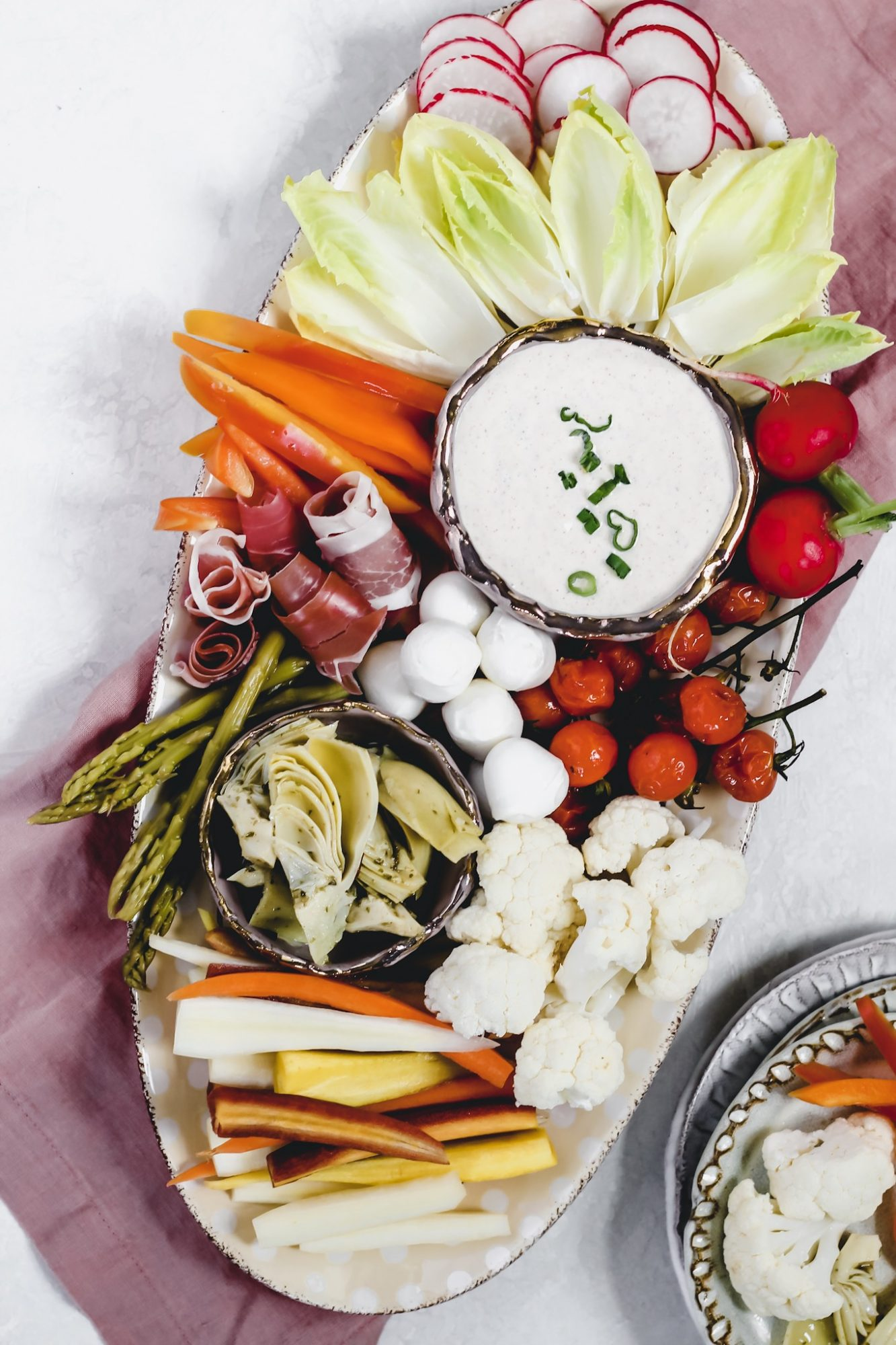 A crudités platter is perfect for easy entertaining