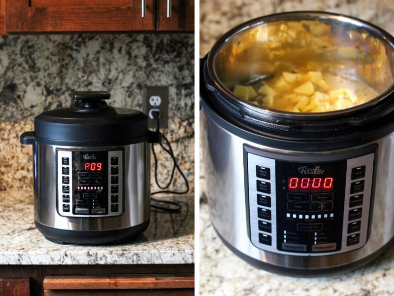 Creamy loaded potato soup made in a pressure cooker