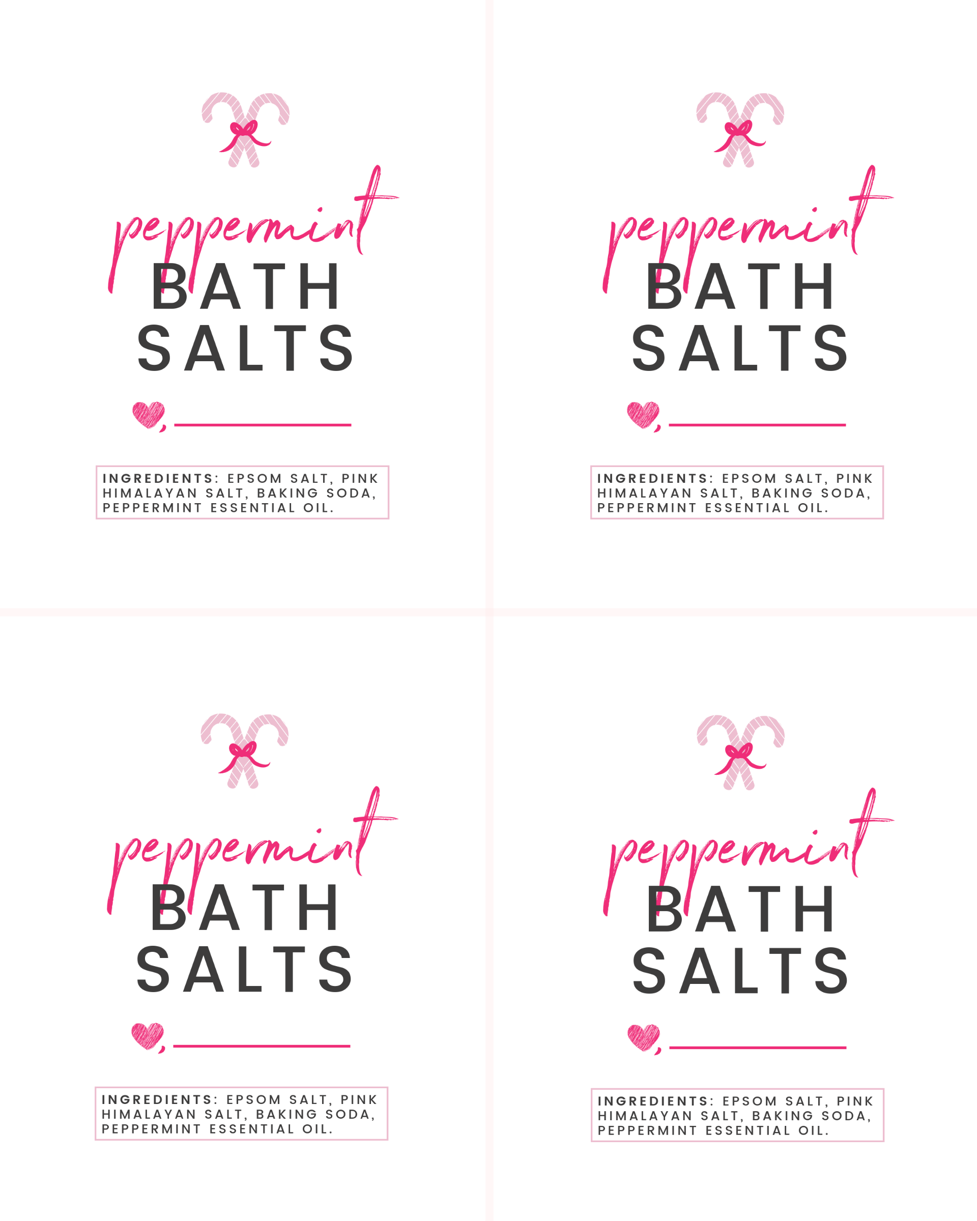 Peppermint Bath Salts And Printable Gift Tags Parsnips And Pastries