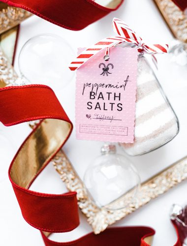DIY Peppermint Bath Salts and printable gift tags
