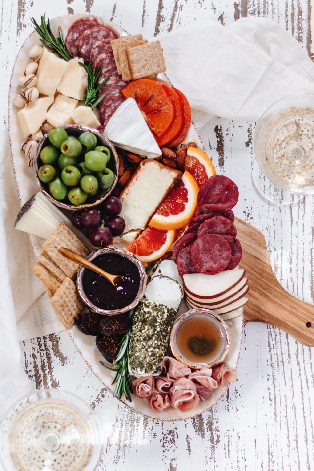 Winter charcuterie board featuring seasonal and delicious items!