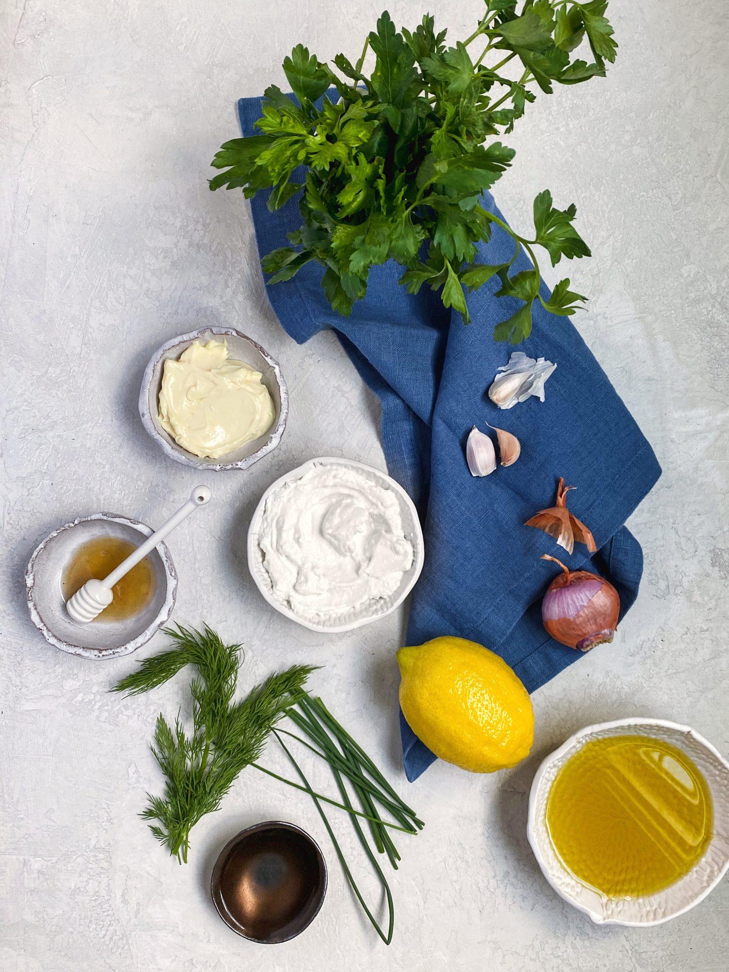 Creamy Herb Dressing made with yogurt