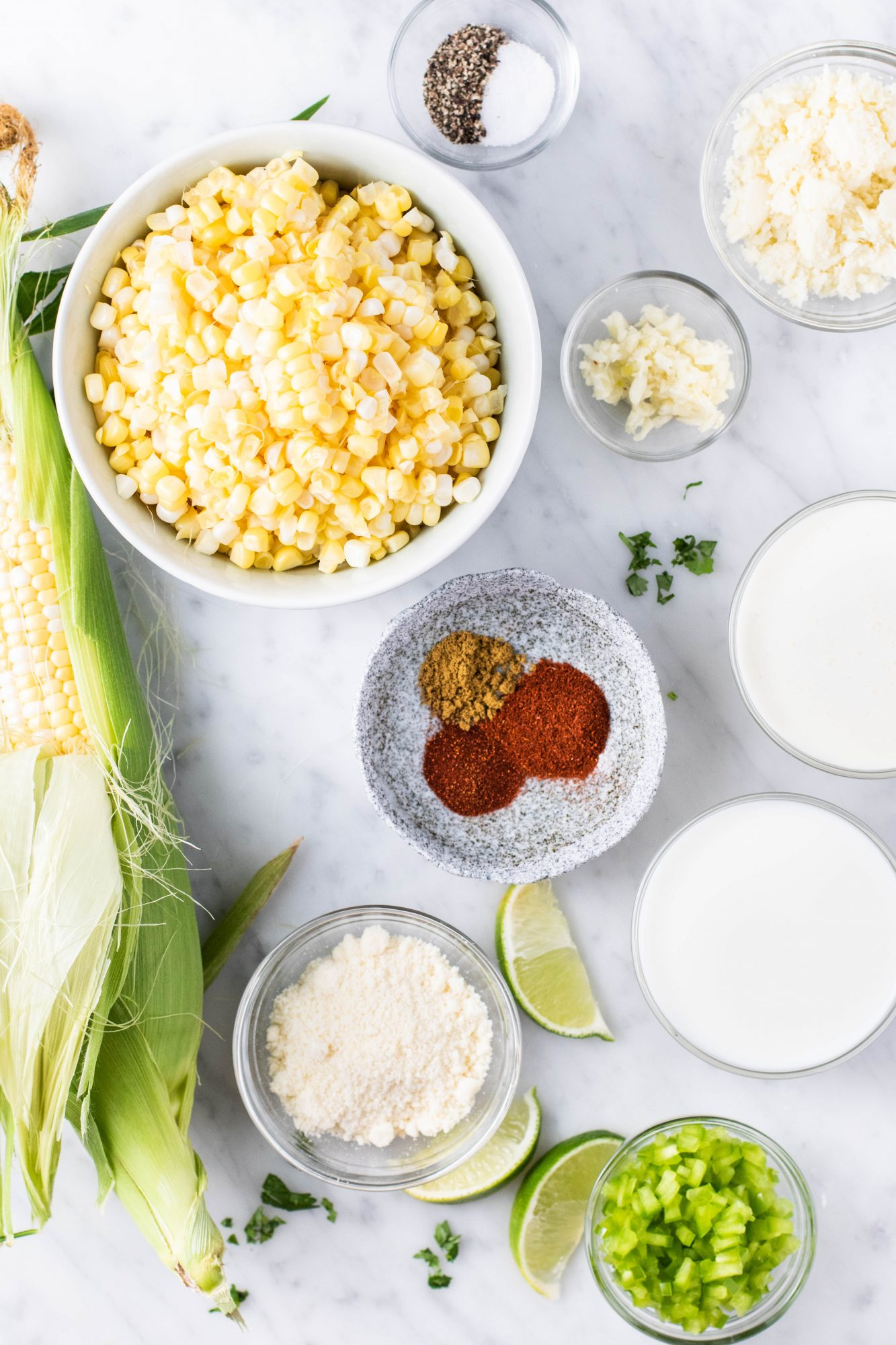 ingredients for Mexican elote creamed corn