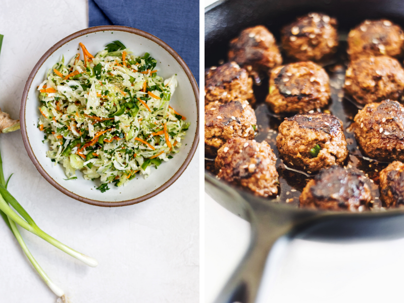 one pan skillet meatballs with spicy lime slaw