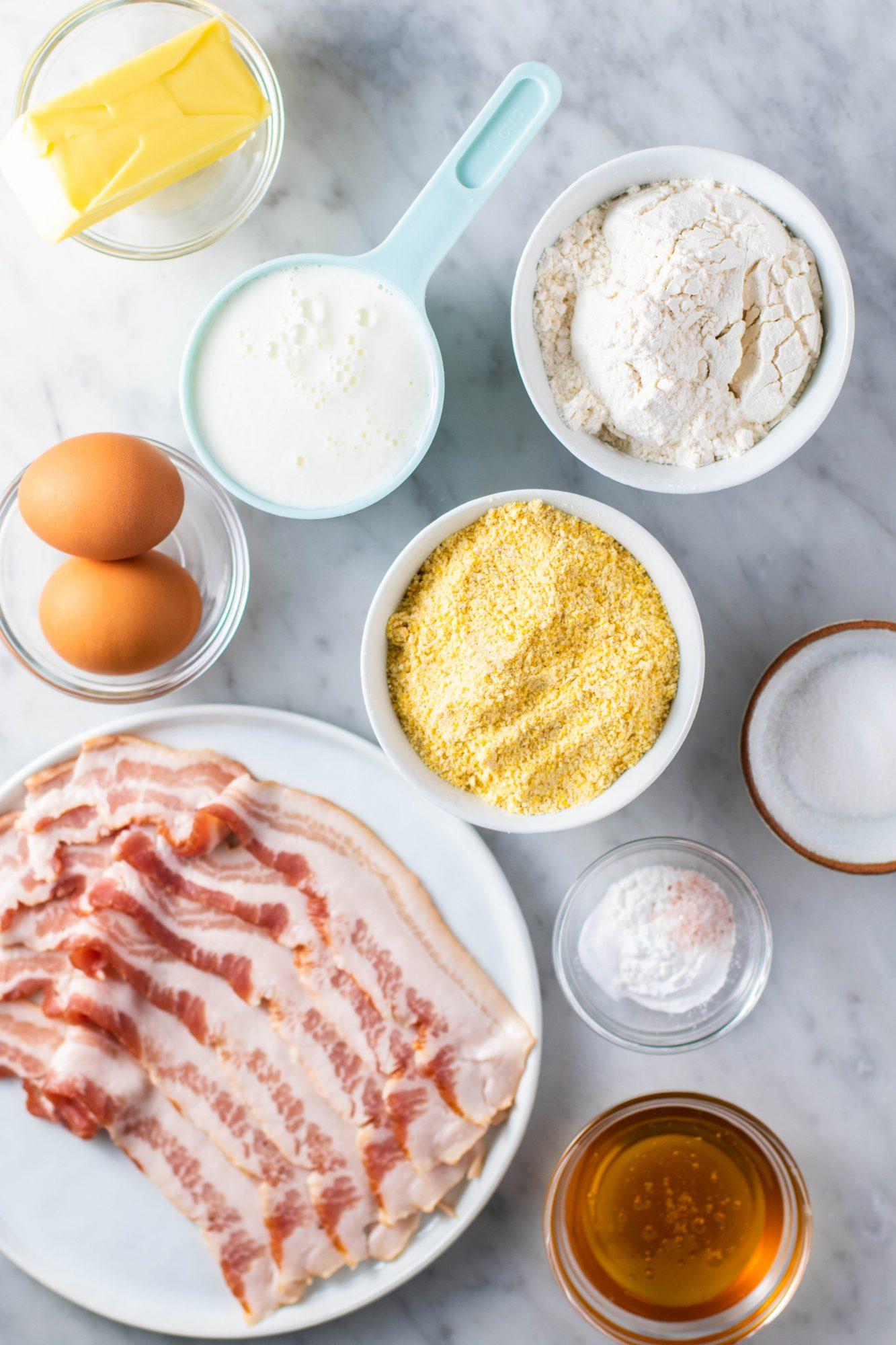 ingredients to make skillet cornbread