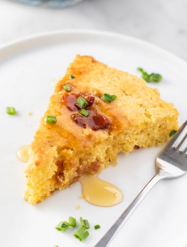 a slice of tender skillet cornbread