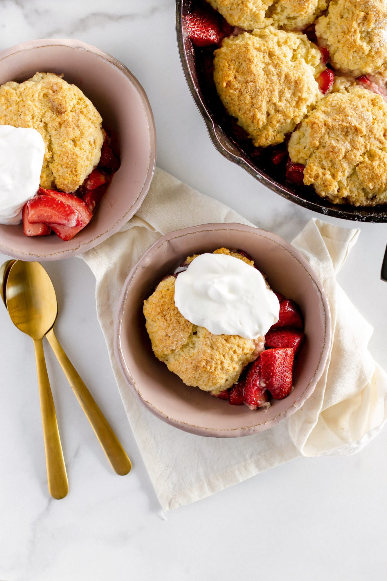 strawberry shortcake skillet with whipped cream
