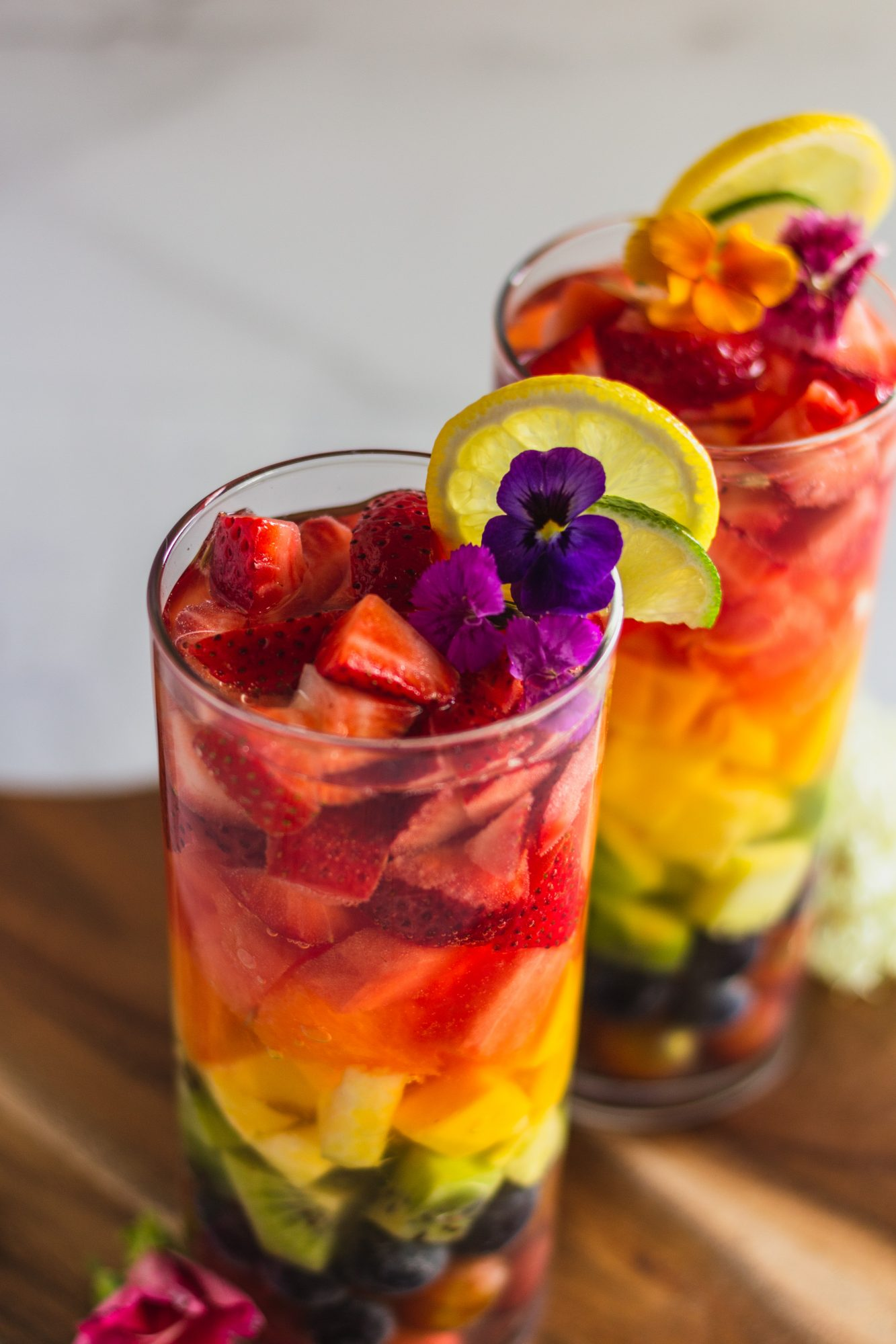 sangria with edible flowers