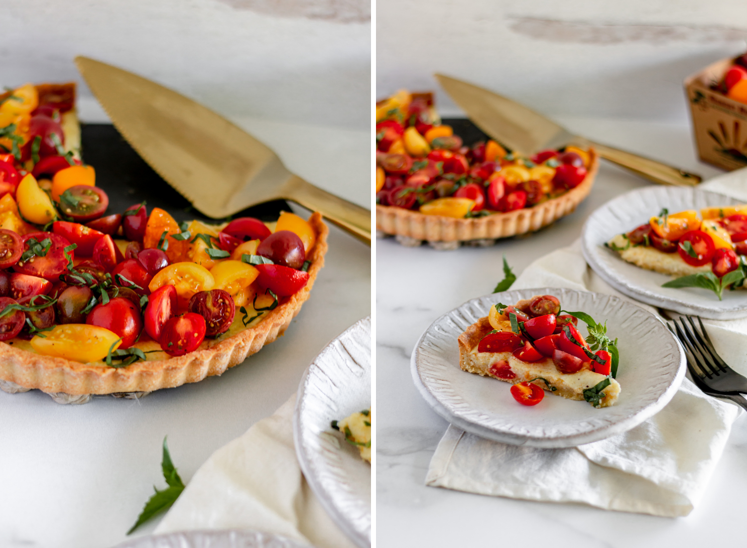 slices of buttery tart with tomatoes