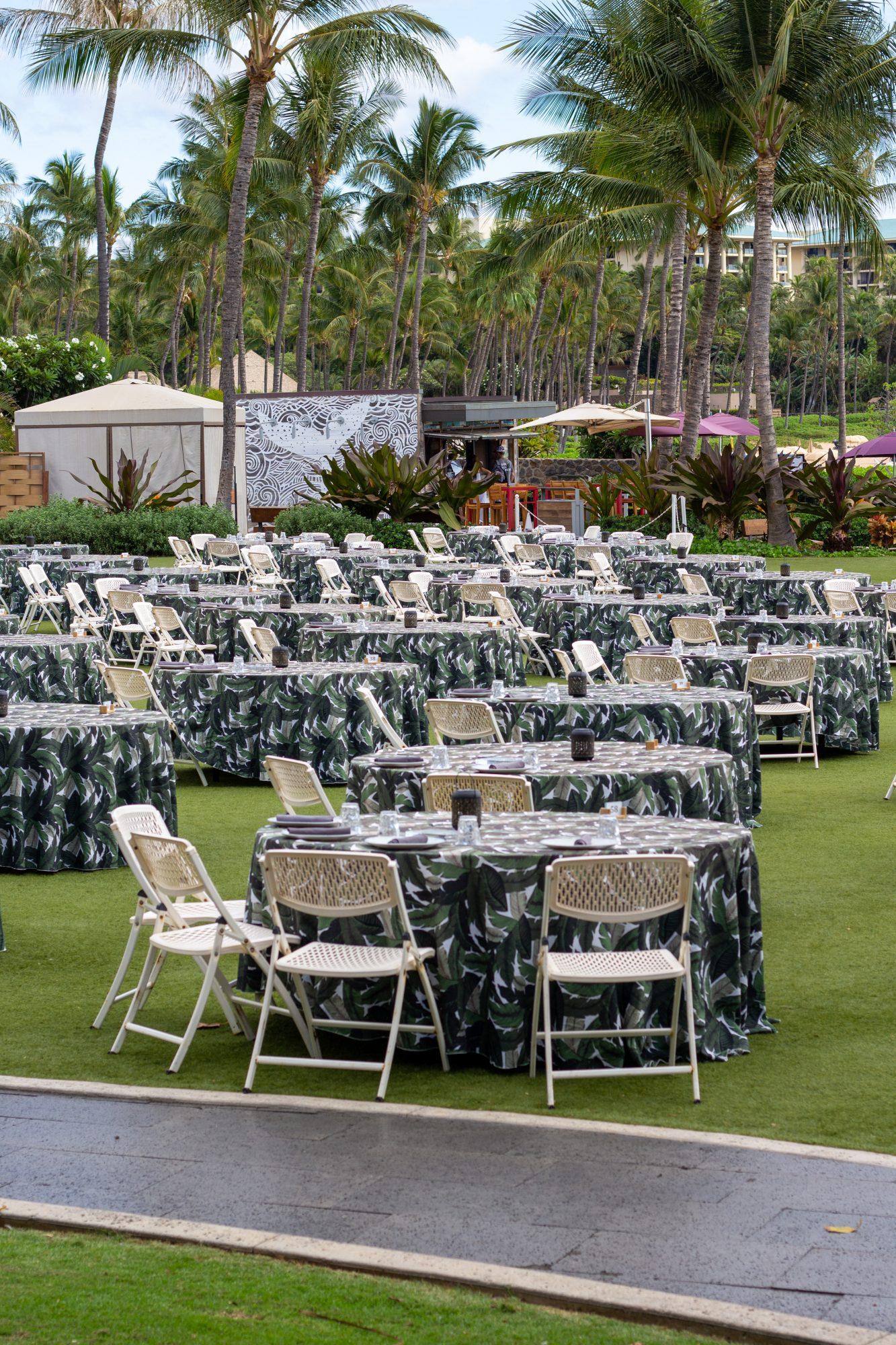 setting up for a luau in Wailea